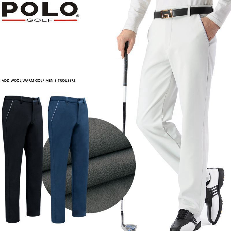 Brand Polo Solid Color Golf Pants for Men Male Velvet Elastic Trousers Keep Warm In Autumn Winter Spring
