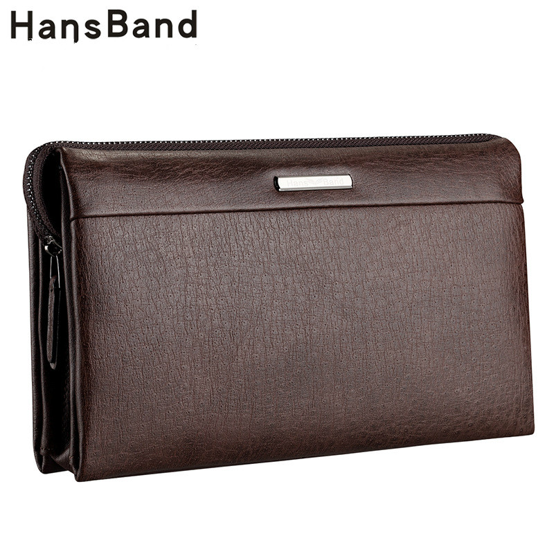 HansBand 2018 Men Wallet Genuine Leather Purse Fashion Casual Long Business Male Clutch Wallets Men's handbags Men's clutch bag men wallet genuine leather dull polish purse fashion casual long business male clutch wallets carteira masculina billeteras
