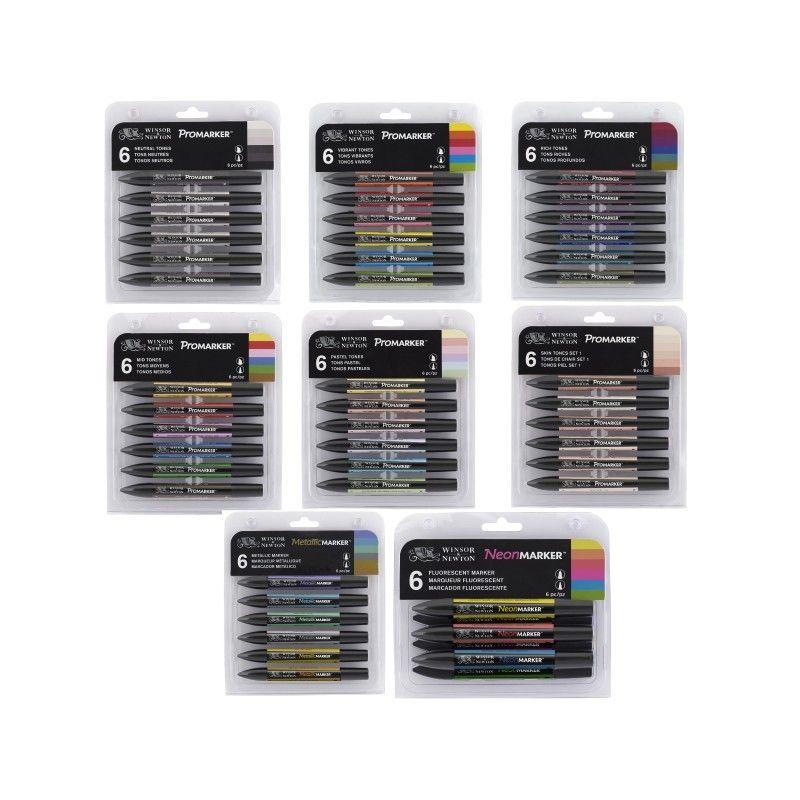 Winsor & Newton Promarker Twin Tip Marker Pen 6 Colours & 12 Colours Blender Artist Brush Pen  Обои