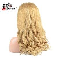 Sunnymay предварительно сорвал Glueless Полный Кружево Искусственные парики Человеческие волосы с ребенком волос #27 Цвет Малайзии Девы волос свобо