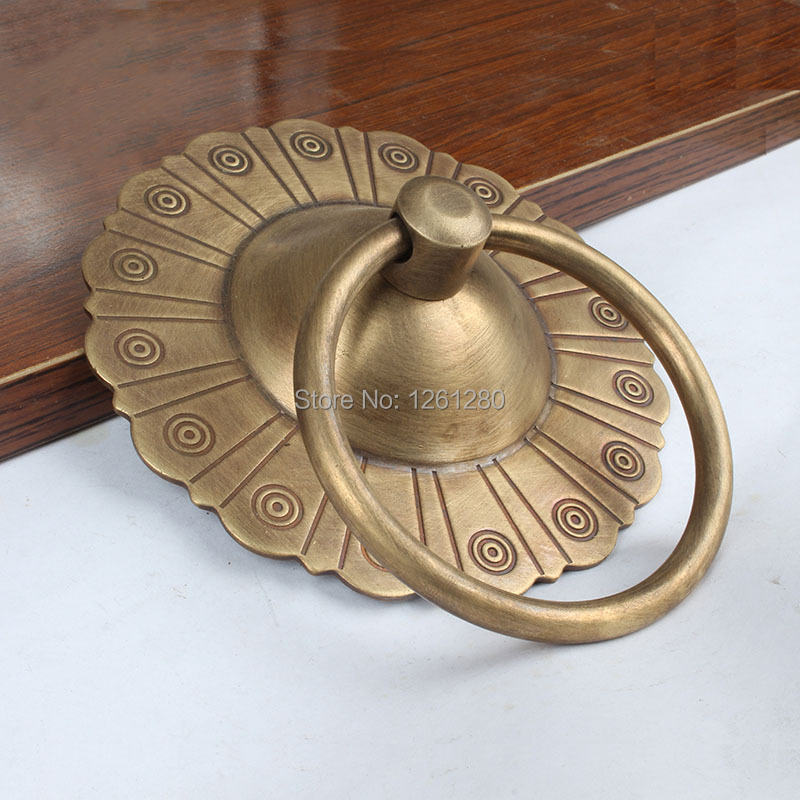 Chinese antique simple drawer knob furniture hardware Classical wardrobe cabinet shoe door handle closet cone vintage pull ring