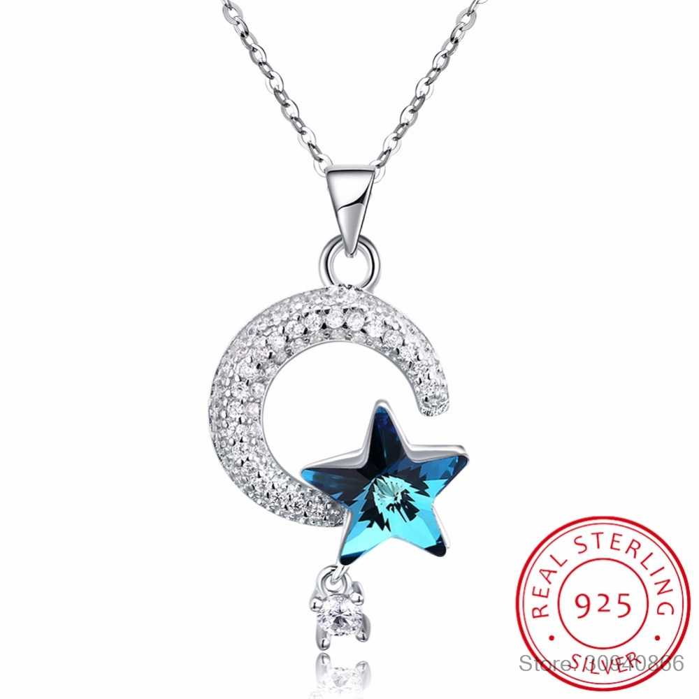 LEKANI Genuine 925 Sterling Silver Crescent Moon & Star Crystal From SWAROVSKI Pendant Necklaces for Women Fine Jewelry Gifts