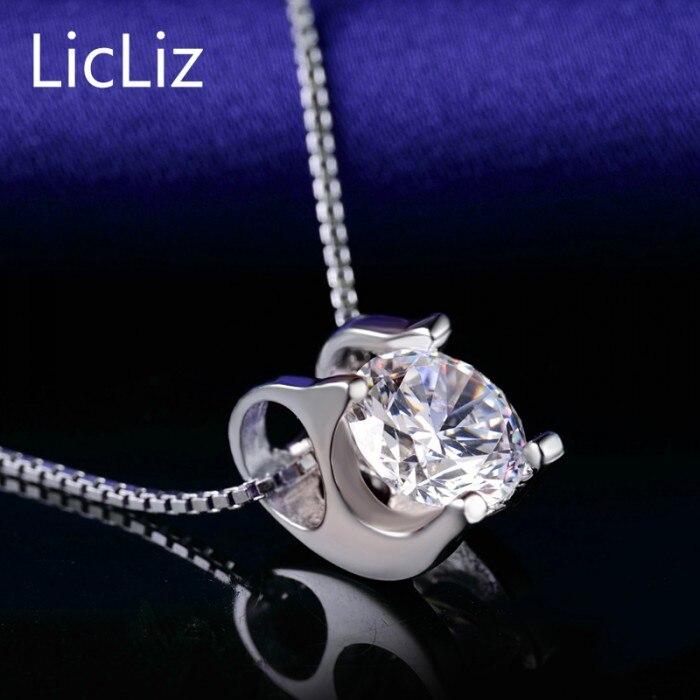 LicLiz 925 пробы серебряный пасьянс подвески для женщин белый желтый фиолетовый кубический цирконий подвески для ожерелья медальон без цепи LP0214 - Цвет камня: White Zircon