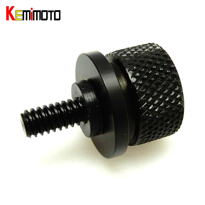 KEMiMOTO Motorcycle 1/4'' Knurled Seat Screw Bolt + Seat Tab Mount Knob Cover Set for Harley Sportster Dyna Roadking Softail