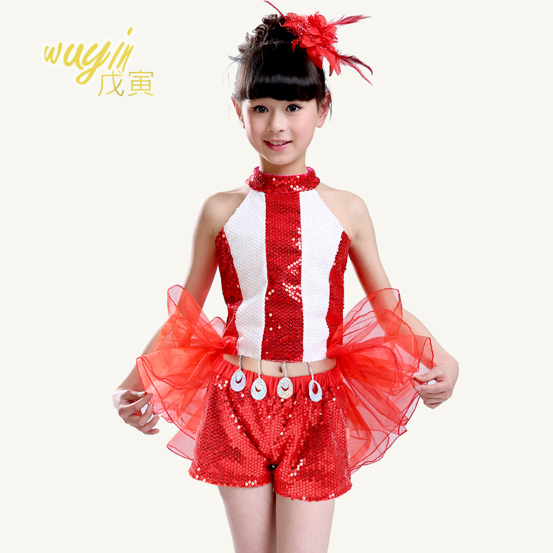 Free shipping The new children's dance clothing dance costumes jazz hip-hop performances sequined costume female dovetail yarn