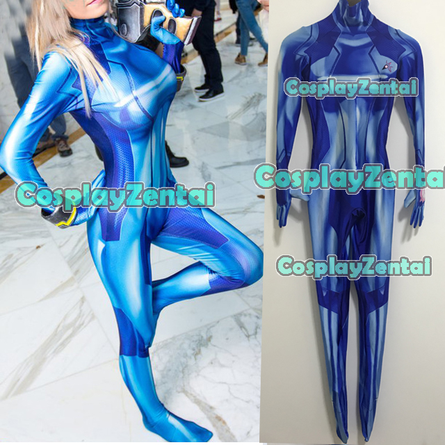 Blue Samus Zero Cosplay Costume 3D Print Spandex Girl Zentai Suit Custom Made Halloween Costumes for Woman Hot Sale