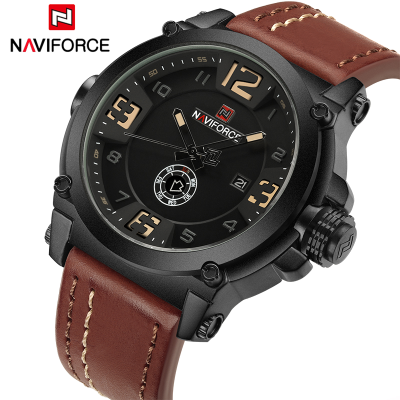 Top Luxury Brand NAVIFORCE Men Sports Watches 30M Waterproof Quartz Wrist Watch 3D Dial Army Military Clock Relogio Masculino weide new men quartz casual watch army military sports watch waterproof back light men watches alarm clock multiple time zone