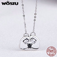WOSTU Real 100 925 Sterling Silver Animal Cute Panda AAA Zirconia Women Pendant Necklaces Women Jewelry