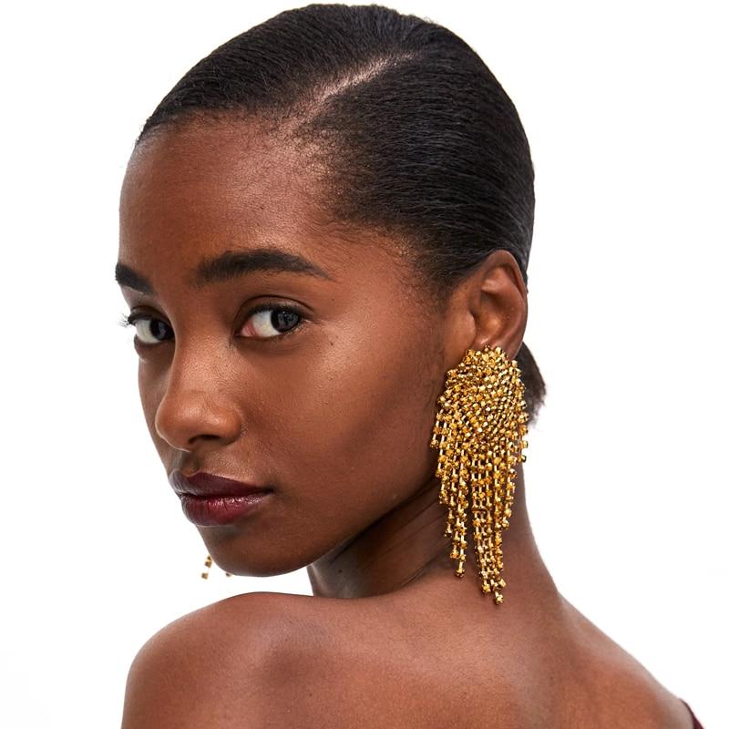 Vodeshanliwen ZA New Design Rhinestone Long Tassel Earrings High Quality Bohemian Big Dang