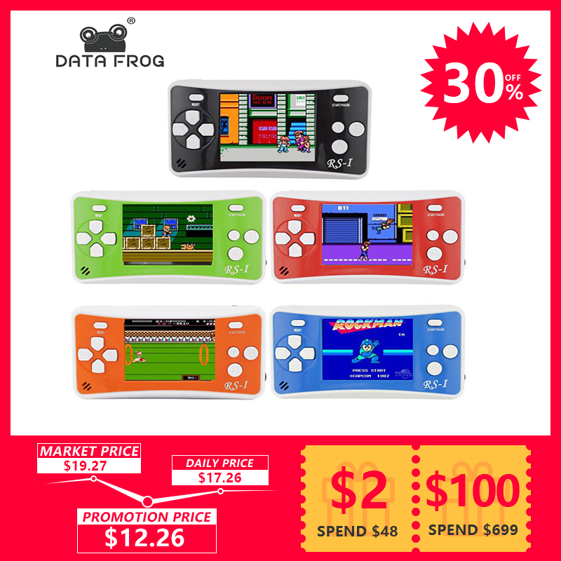 купить Data Frog Portable Game Console 2.5 Inch Handheld Game Player Built In 89 No Repeat Classic Games Consoles Best Gift For Kids по цене 819.37 рублей