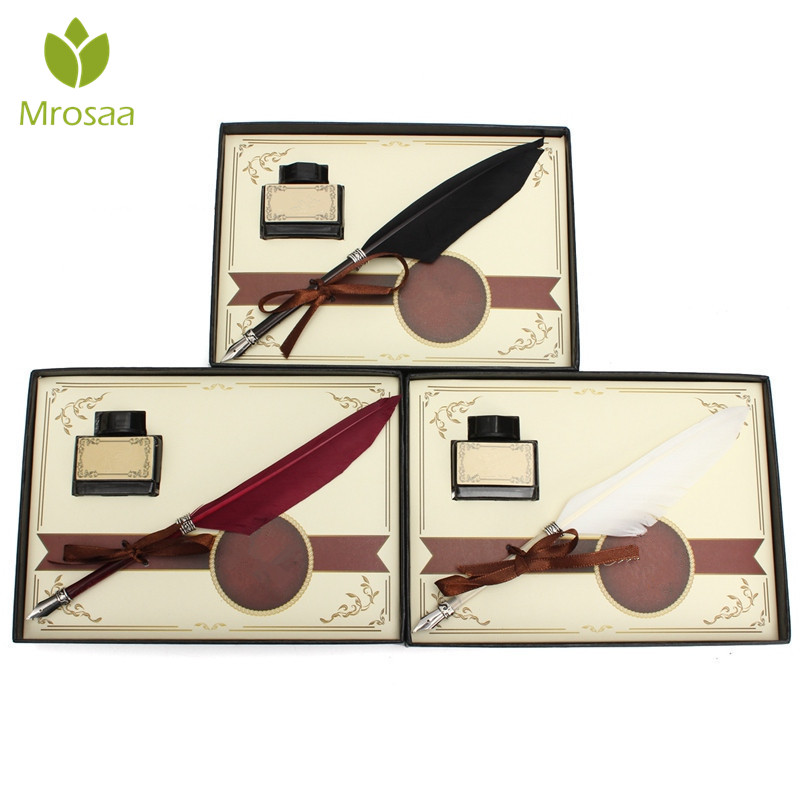 Mrosaa Retro Swan Feather Quill Metal Nib Dip Pen Writing Ink Set with Gift Box Stationery Antique Fountain Pen Wedding Gifts