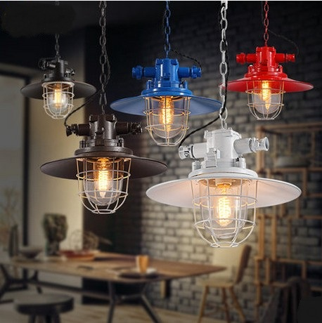 American Loft Iron Art Glass Pendant Light Fixtures Simple Industrial Vintage Lighting For Living Dining Room Bar Hanging Lamp стоимость