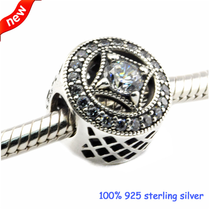 DIY Beads for Jewelry Making Sterling-Silver-Jewelry Vintage Allure Bead WITH CLEAR CZ Charms Silver 925 Berloque Perles
