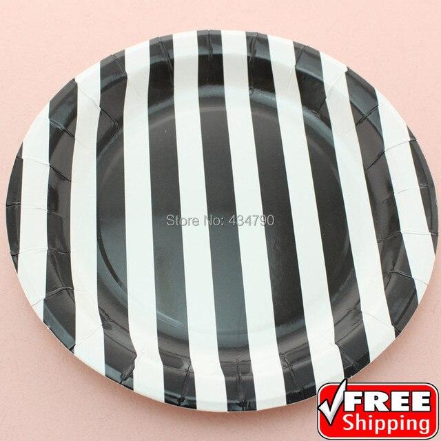 60pcs 9  Black Striped Halloween Paper Plates RoundPretty Party Picnic Dessert Serving Dishes & 60pcs 9