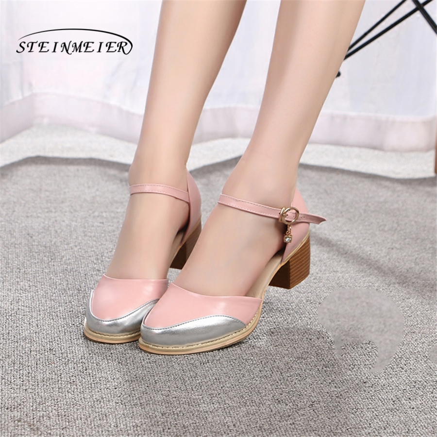 Women genuine Leather pink oxford Sandals summer shoes women handmade 5cm vintage round Toe thick heel