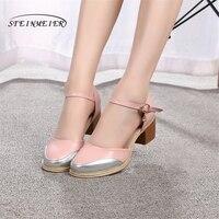 Women Genuine Leather Pink Oxford Sandals Summer Shoes Women Handmade 5cm Vintage Round Toe Thick Heel
