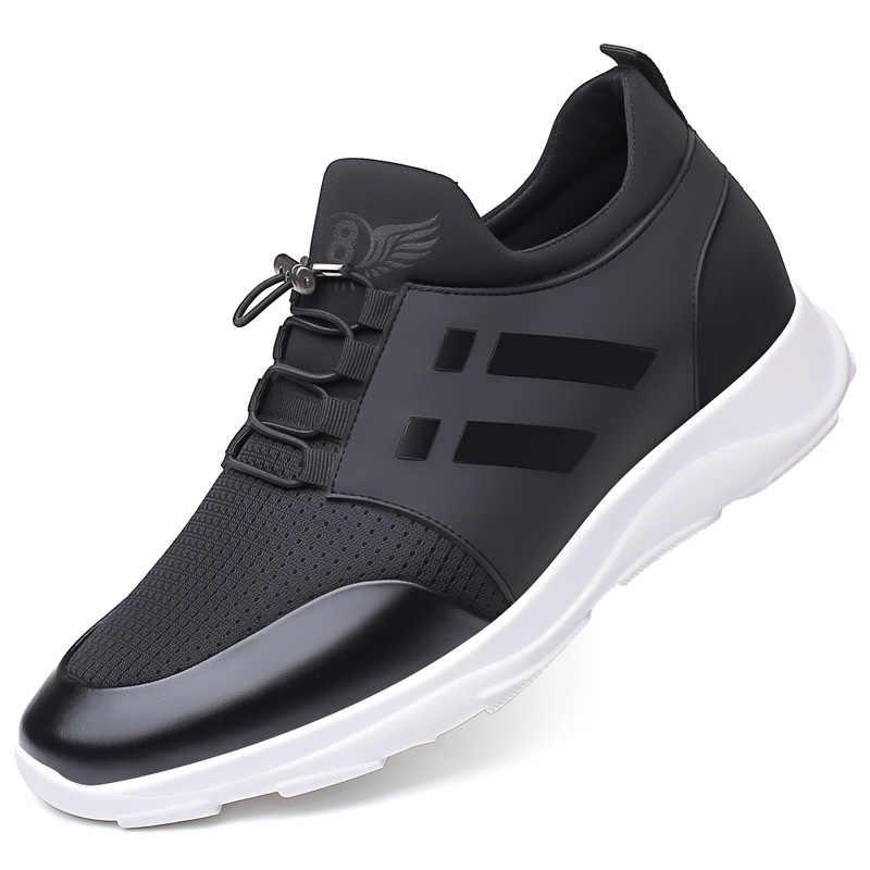 Sapatos masculinos de qualidade lycra + couro de vaca, sapatos de marca 6cm crescente, britânicos, novo verão, homem preto, 2020 sapatos casuais de altura