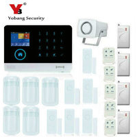 YoBang Security Wireless WiFi Home Safety System GSM GPRS RFID Alarm System Smoke Detector Impact Sensor And Door Motion Sensor.