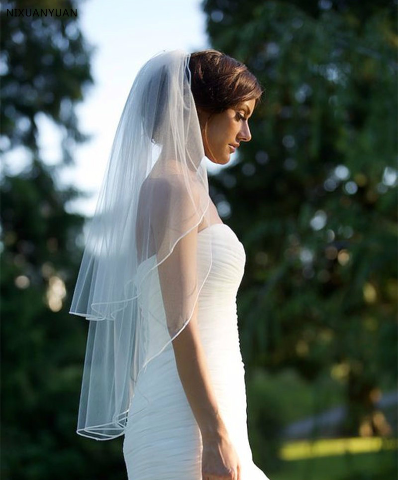 New 2T White/Ivory Bridal Elbow Length Cut Edge Wedding Veil With Comb Tulle Bridal Veils