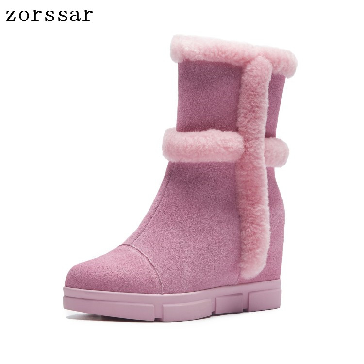 Zorssar 2018 Winter Warm plush Women Shoes Woman Snow Boots Ankle Platform Wedge boots Fashion suede Ladies Boot Pink Footwear zorssar 2017 new classic winter plush women boots suede ankle snow boots female warm fur women shoes wedges platform boots