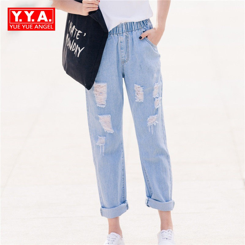 yofeai hole ripped jeans 2017 women pants fashion loose harem pants boyfriend student pants denim ripped jeans voor vrouwen Ripped Boyfriend Jeans For Women Loose Fit Denim Harem Pants Elastic Waist Trousers Comfort 100% Cotton High Waist Jeans XS-6XL