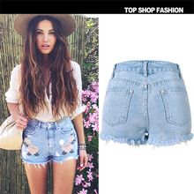 Flower Embroidery Denim Shorts