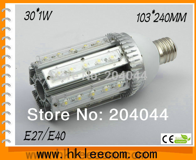 ФОТО FREE SHIPPING:2pcs/lot E40/27 base round LED Street light bulbs with 30*1W power, 85 to 265V AC voltage, CE and RoHS-certified
