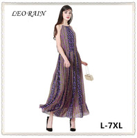 7XL 6XL 5XL Summer New Sleeveless Chiffon Beach Dress Women Ethnic Style Elegant Long Maxi Dresses Plus Size Vestidos LEORAIN
