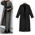 Горячие продажи Америки Европейский Женщины Леди С Длинным Рукавом Твердые Простой Ветровка Случайные Кардиган Длинный Плащ Куртки И Пиджаки Пальто