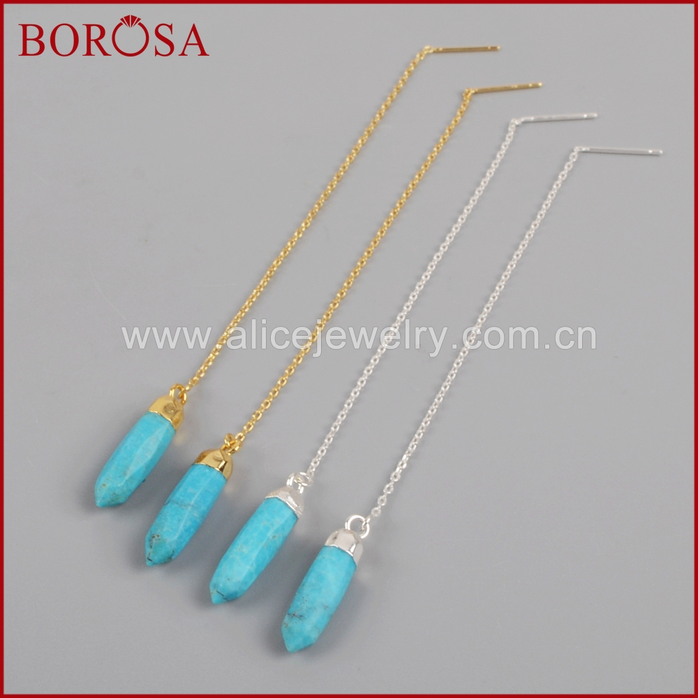 Borosa 100% Natural Blue Stone Point Faceted Gold Color Threader Earrings  Drop Earrings, Dangle