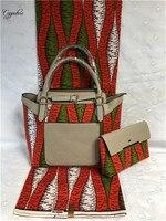 3pcs/set African batik ankara real cotton holland wax fabric (6yards/lot) matching handbag and purse set FB1