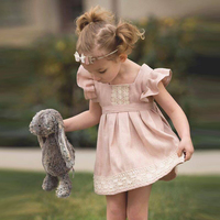 INS Summer Cute And Sweety Children S Clothing Baby Pink Lace Lotus Leaf Dress Princess Dress