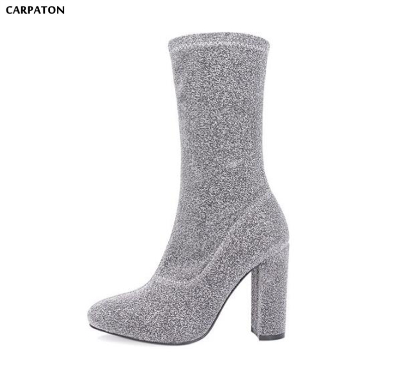 Carpaton Winter England Martin Boots Fashion Sequined Stretch Boots Pure Color Round Toe Square High Heels Women Wild Boots