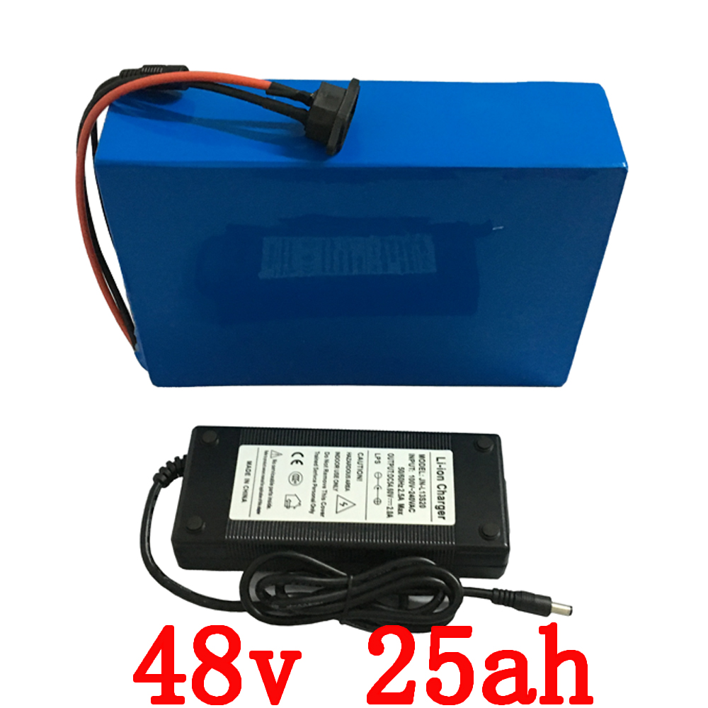 US EU no tax E-bike Battery 48v 25Ah 1500W Lithium Bicycle Battery48V  e-bike 48v Battery Pack  50A BMS and 54.6v  2A charger eu us free customs duty 48v 550w e bike battery 48v 15ah lithium ion battery pack with 2a charger electric bicycle battery 48v