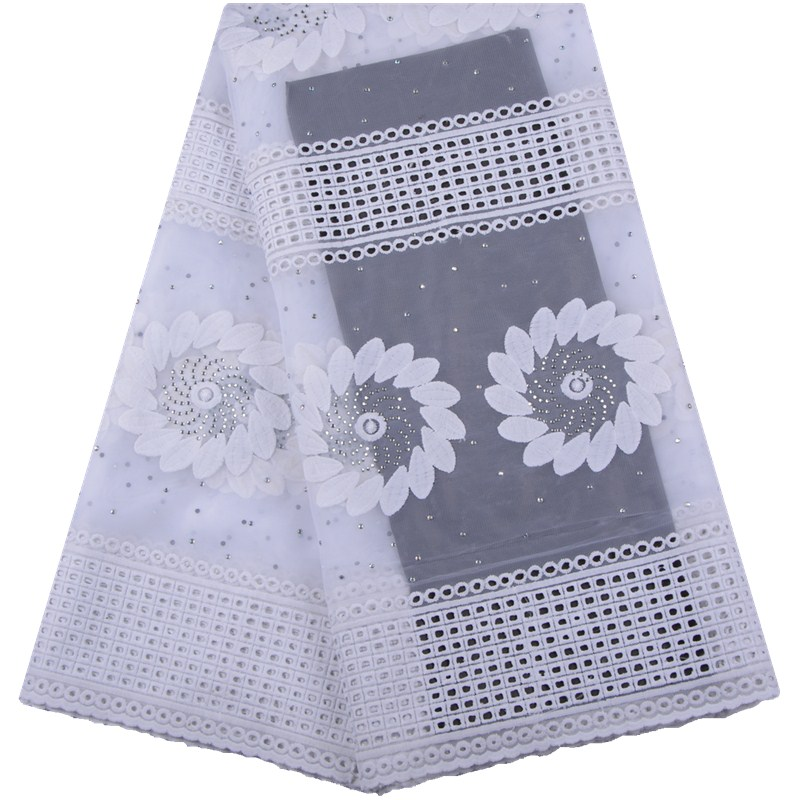 2019 High Quality Net Lace Embroidery White French Lace Fabric With Stones African Lace Fabric Nigerian