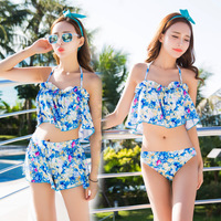 2017 New Swimwear Women Ruffle Vintage Pattern Bikini Swimsuit Bandage Striped Bottom Bathing Suits Three sets