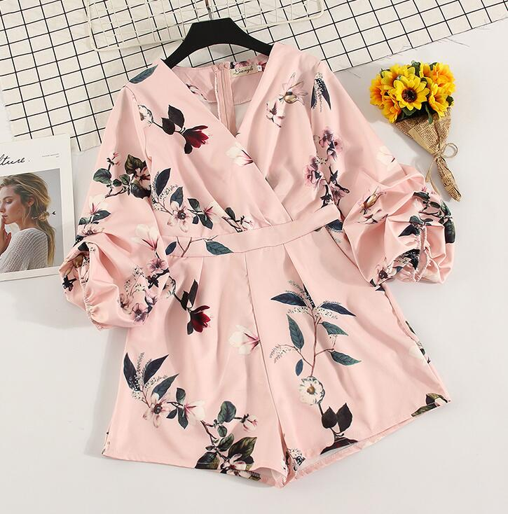 Women's V neck lantern sleeve Print Playsuits Lady's Vintage Spring Summer Wide leg shorts imitation satin   Jumpsuits   TB687
