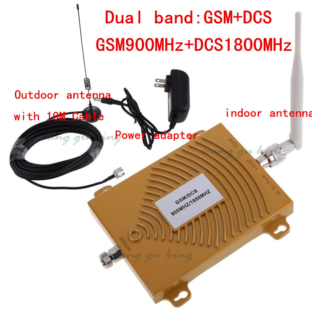 Hot! GSM 900Mhz + DCS 1800MHz Dual Band Signal Booster, 2G GSM Mobile Phone Signal Repeater ,Signal Amplifier With Antenna 1 set