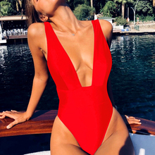 Peachtan Deep v-neck swimsuit one piece Neon sexy high cut bodysuits swimwear women 2019 bathing suit Monokini bikini push up