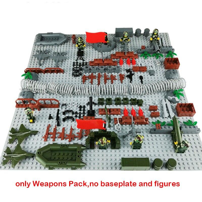 Military Scene Accessories Cannon Plane Guns Kits Building Blocks MOC Weapons Pack Toys WW2 Series Bricks