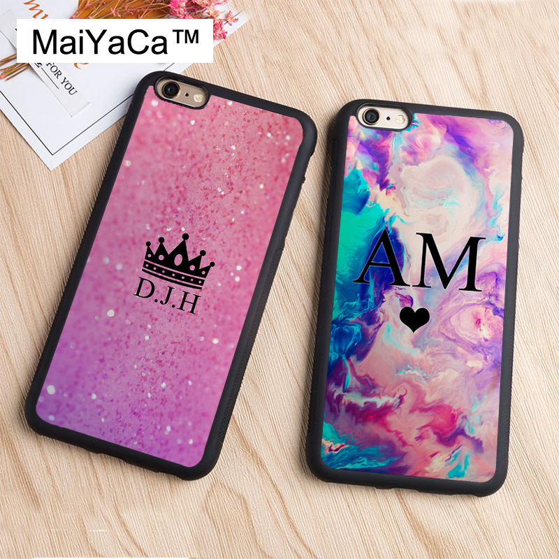 MaiYaCa PERSONALISED INITIALS NAME Custom For iPhone 6 6s TPU Plastic Case For iPhone XS MAX X XR 7 8 Plus 5 SE Back Cover Coque in Fitted Cases from Cellphones Telecommunications