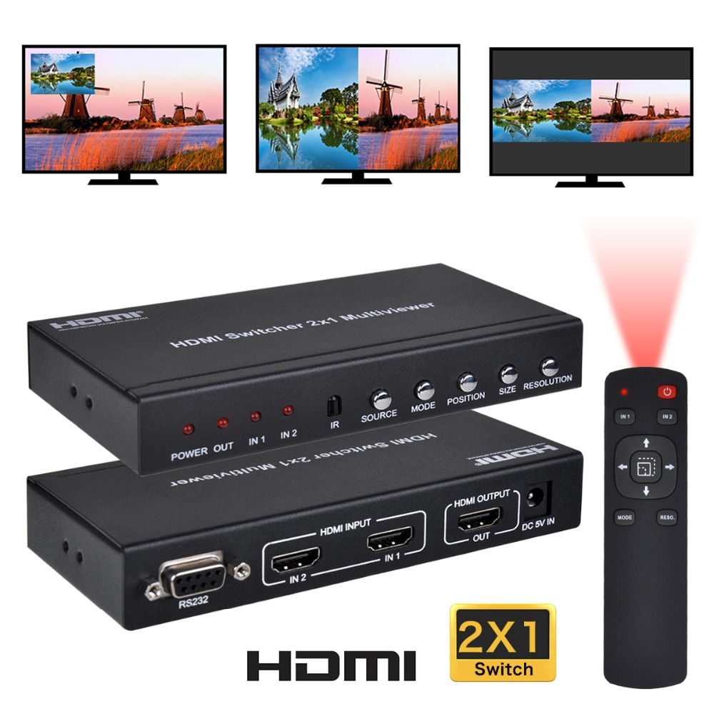 Iseebiz HDMI 2X1 Seamless Switch Screen with IR Remote RS232 for Console Splitter Screen divider Multi-Viewer with PIP POP Mode