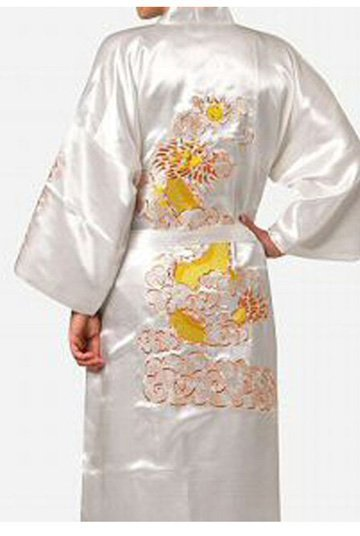 Free shipping White Chinese Traditional Men's Silk Satin Robe Embroidery Kimono Bath Gown Dragon S M L XL XXL XXXL S0013