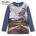 Boys T-Shirt Autumn Big Shark Print Tshirt long Sleeve Print For Boys 3D T-Shirt Big Shark Print Shirt Enfant Children Clothing