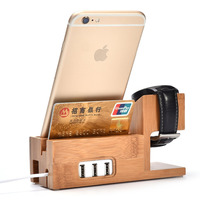 Gift Kits:100% Natural Bamboo Charging Dock Station Wooden Stand Holder For Apple iPhone/i Watch 42/A7 A5 2017 P10 S8 S7 Phones