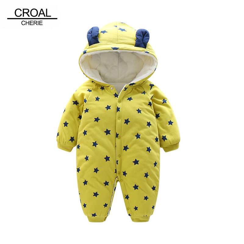 CROAL CHERIE 60-100cm Fashion Star Printing Baby Girl Winter Clothes Hooded Warm Newborn Romper Baby Costume Christmas Costume