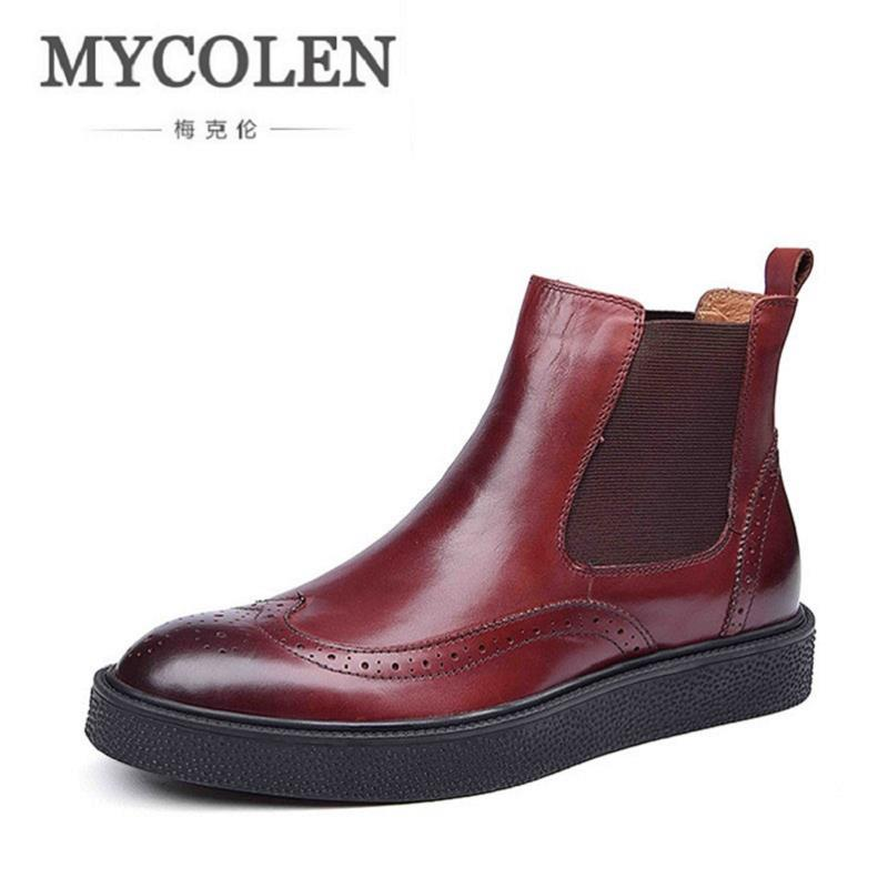 MYCOLEN Brand New Genuine Leather Men Boots Cow Leather Men Shoes Black Hollow Fashion Men Winter Shoes Zapatos De Los Hombres mycolen new autumn winter men black casual shoes men high tops fashion hip hop shoes zapatos de hombre leisure male botas