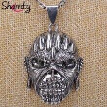 Shamty подарок на Хэллоуин ожерелье античный серебряный цвет новая мода стали Винтаж ожерелье с кулоном череп для мальчиков и девочек D30013