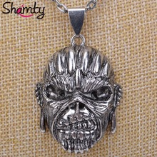 Shamty Halloween Gift Necklace Antique Silver Color New Fashion Steel Vintage Skull Necklace Pendant For Boy Girl D30013