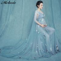 Melario Maternity dress 2018 Maternity Photography Props Maternity Flower Lace Dress shoulderless Voile Summer Pregnant Dress
